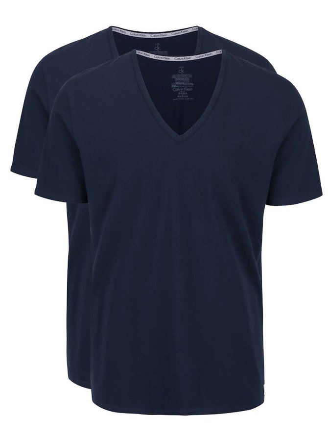 Sada dvou pánských tmavě modrých slim fit trik pod košili s véčkovým výstřihem Calvin Klein