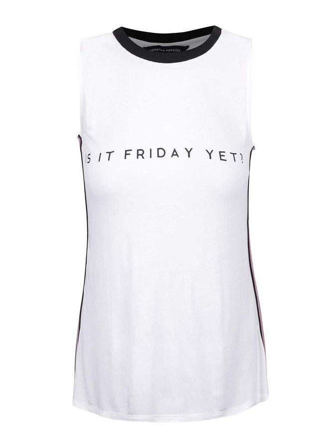 Bílé tričko bez rukávů s nápisem Dorothy Perkins