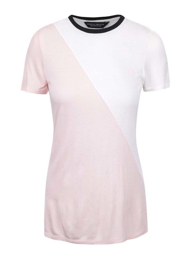 Krémovo-růžové tričko s černým lemem Dorothy Perkins