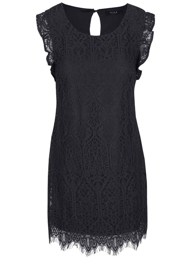 Tmavosivé čipkované šaty VILA Filla