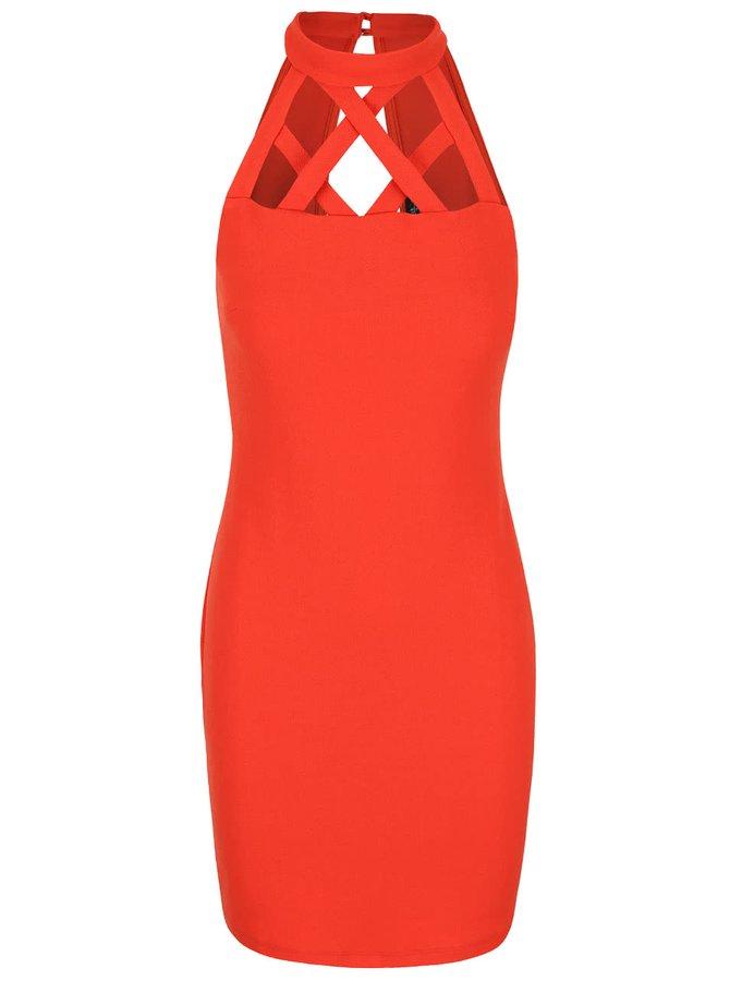 Červené šaty s proplétaným dekoltem Miss Selfridge
