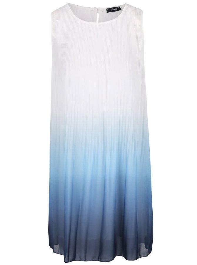 Bielo-modré plisované voľnejšie šaty s ombré efektom Alchymi Rubinola