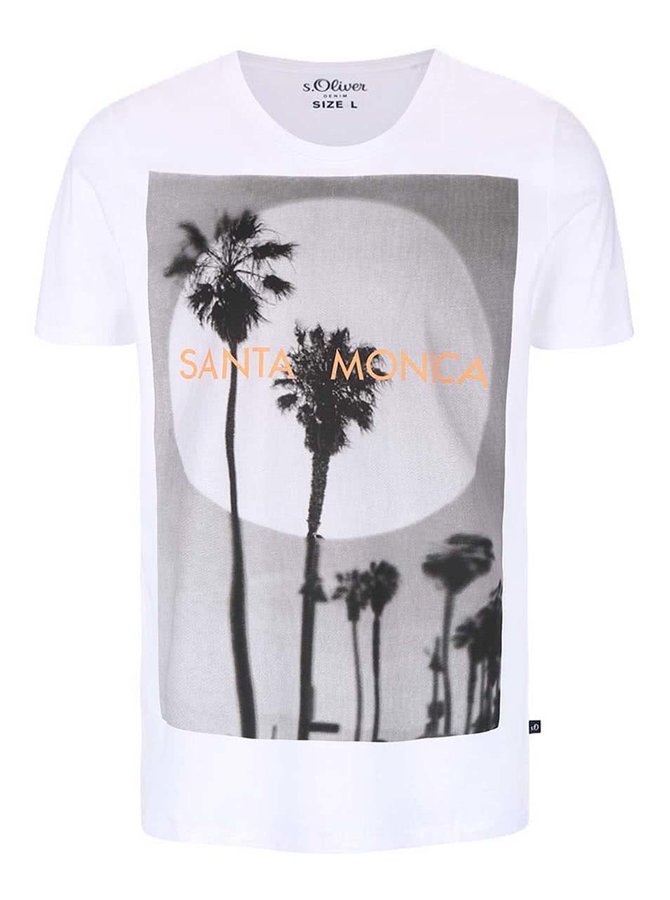 Bílé pánské triko s potiskem Santa Monica s.Oliver