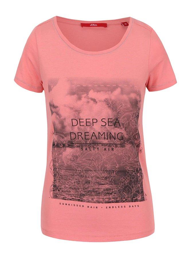 Ružové dámske tričko s potlačou s.Oliver
