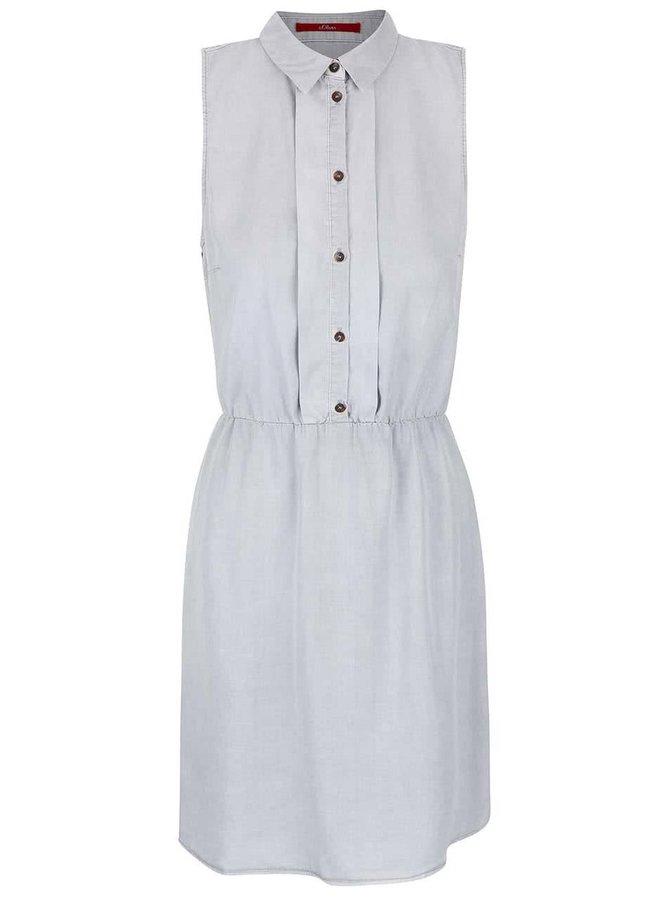Svetlosivé šaty bez rukávov s gombíkmi s.Oliver