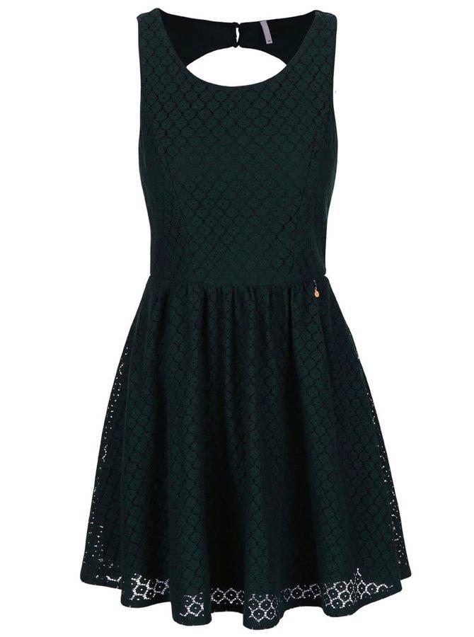 Tmavozelené čipkované šaty ONLY Line Fairy