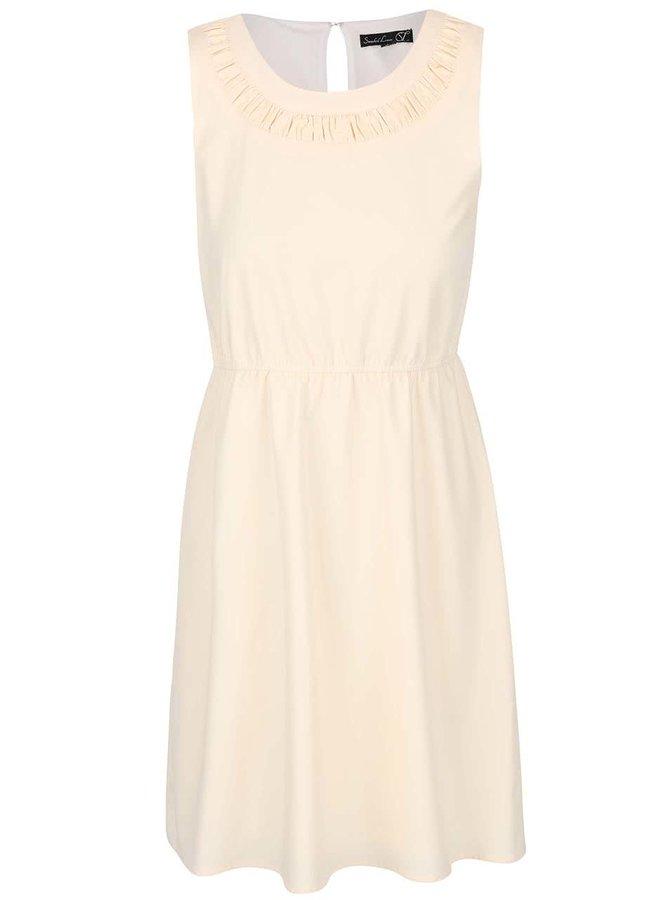 Krémové šaty so zúžením v páse Smashed Lemon