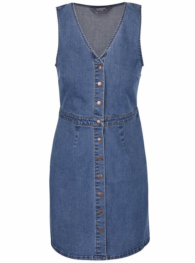 Modré džínové propínací šaty bez rukávů Dorothy Perkins