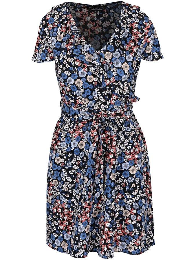 Černo-modré šaty se zavazováním v pase  Dorothy Perkins