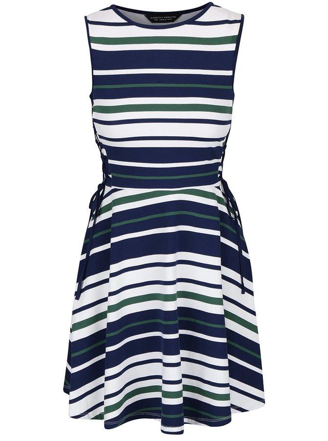 Bielo-modré pruhované šaty so šnurovaním na boku Dorothy Perkins