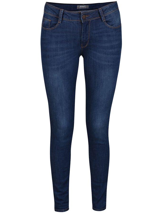 Tmavě modré skinny džíny s odrbaným efektem Dorothy Perkins
