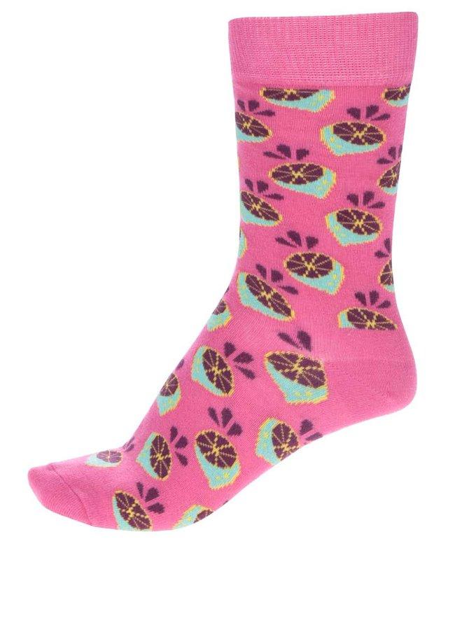 Růžové dámské ponožky Happy Socks Lime