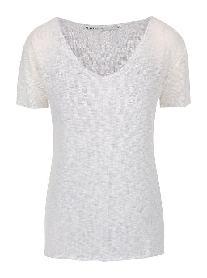 Krémové priesvitné tričko s véčkovým výstrihom ONLY Sadie