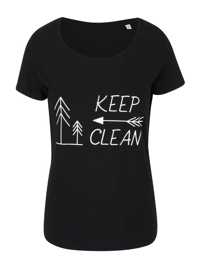"""Dobré"" čierne dámske tričko KEEPItCLEAN"
