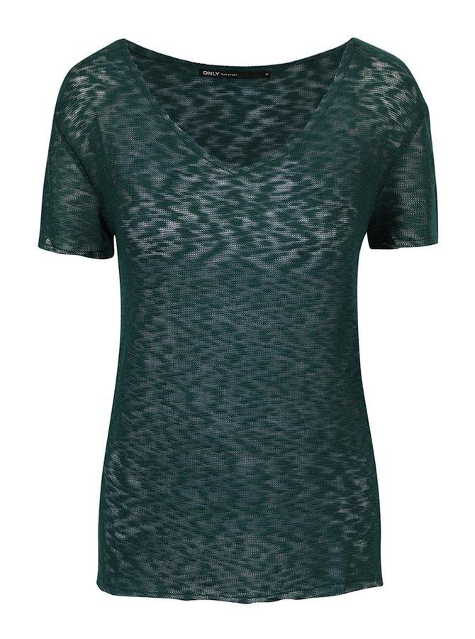 Zelené priesvitné tričko s véčkovým výstrihom ONLY Sadie