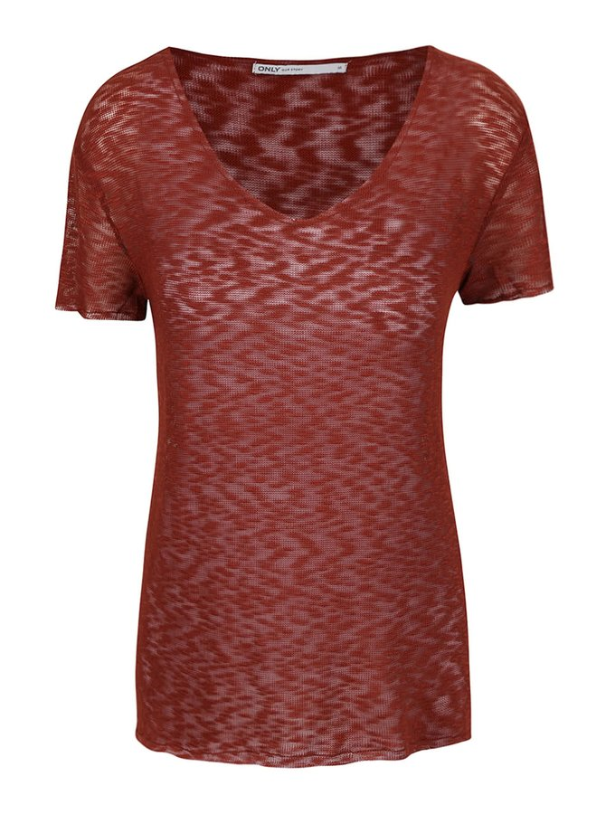 Cihlové průsvitné tričko s véčkovým výstřihem ONLY Sadie