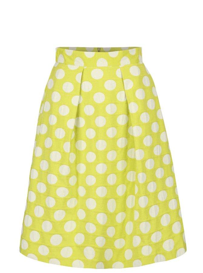 Světle zelená sukně s krémovými puntíky Closet