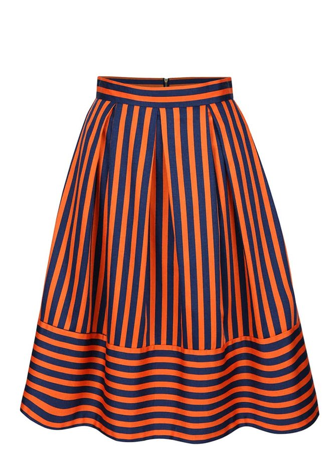 Modro-oranžová pruhovaná midi sukňa Closet