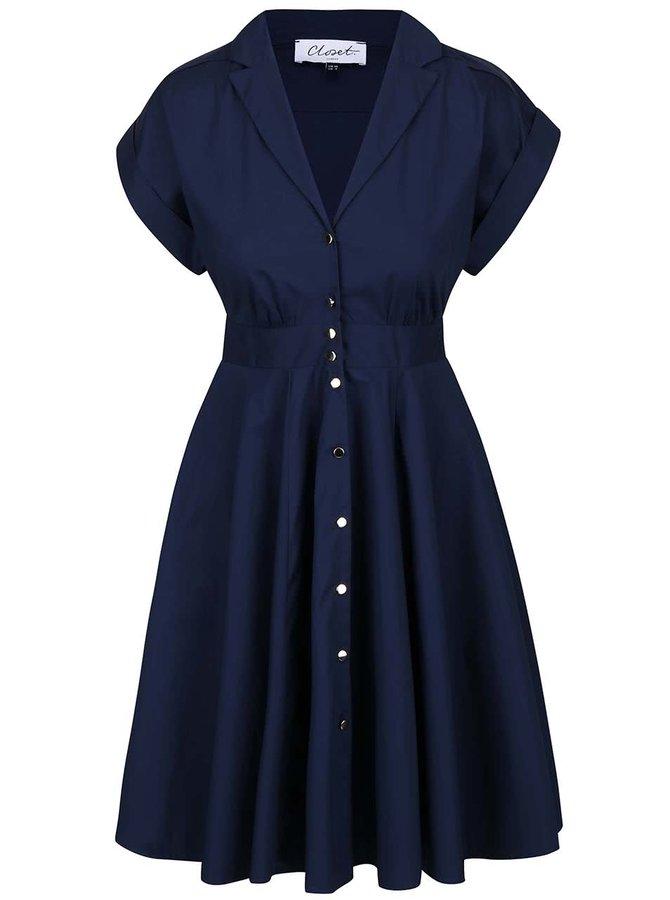 Tmavomodré šaty na zapínanie Closet