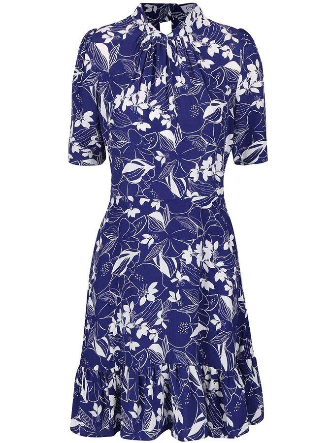 Bílo-modré šaty s volánovým lemem Closet