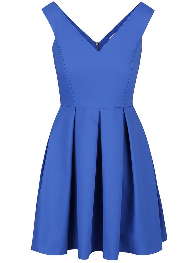 Modré šaty s véčkovým výstrihom Closet