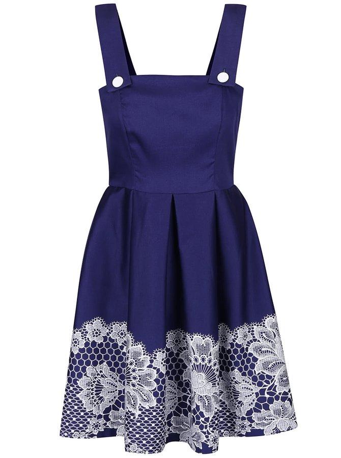 Modré šaty s potlačou čipky Closet
