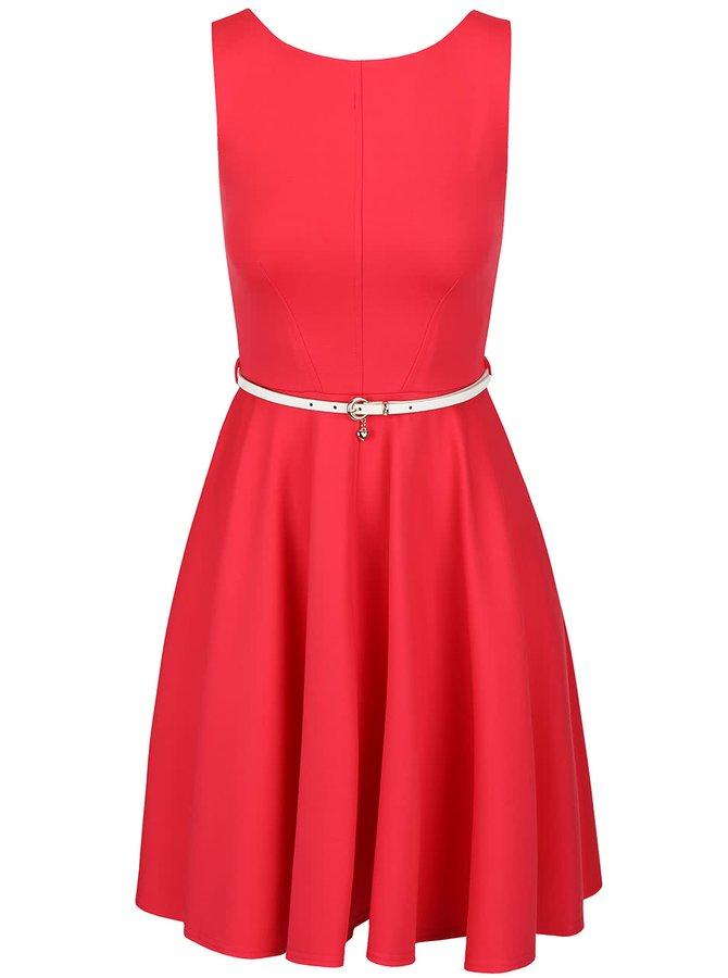 Růžové šaty s bílým páskem Closet