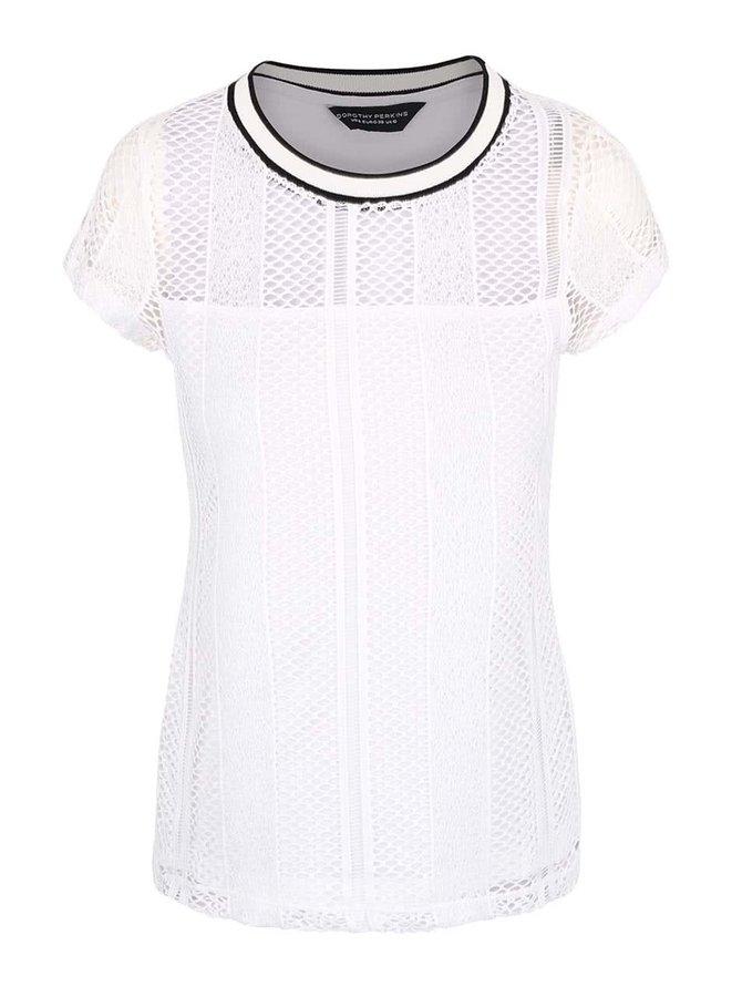 Bílé háčkované tričko s černým lemem Dorothy Perkins