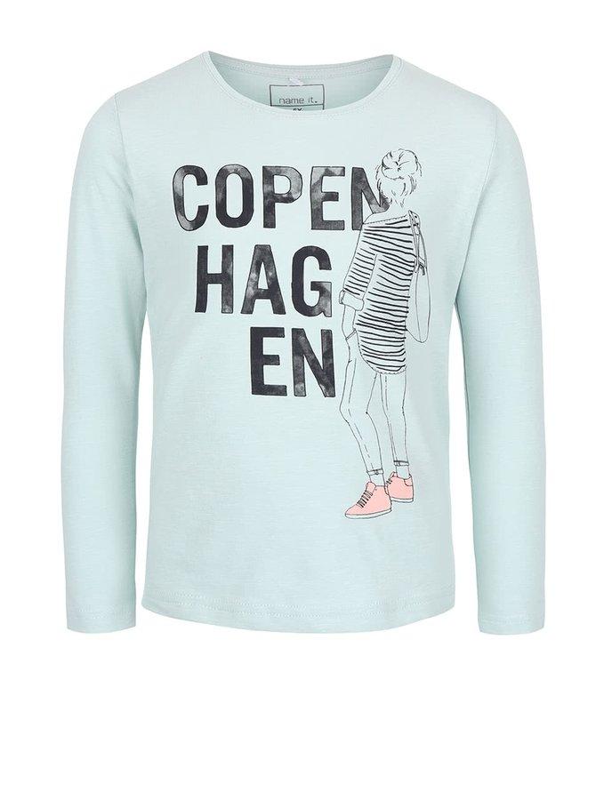 Mentolové dievčenské tričko s potlačou name it Katrin