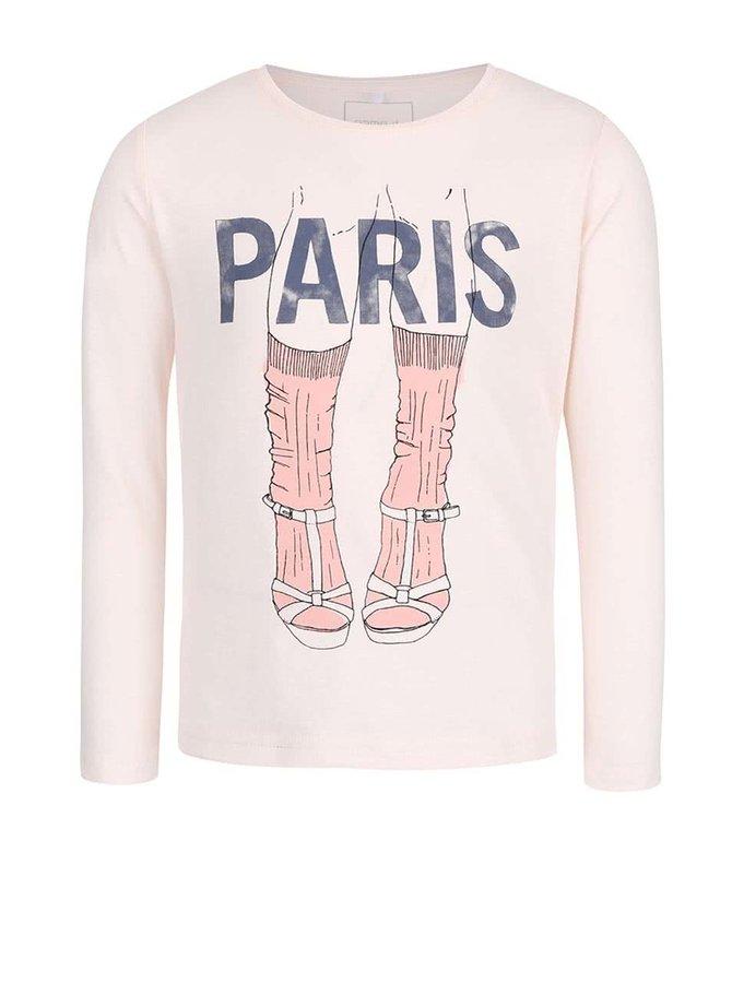 Světle růžové holčičí tričko s potiskem name it Katrin