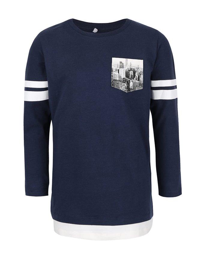 Bluză albastru închis pentru băieți Name it Kroels cu imprimeu