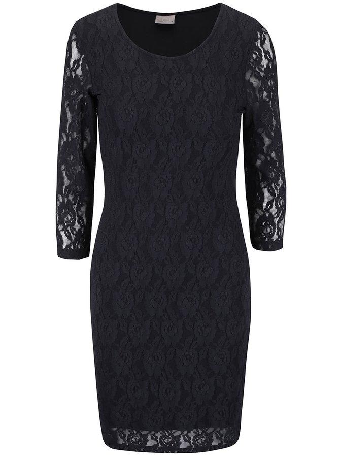 Čierne čipkované šaty s dlhým rukávom VERO MODA Lilly
