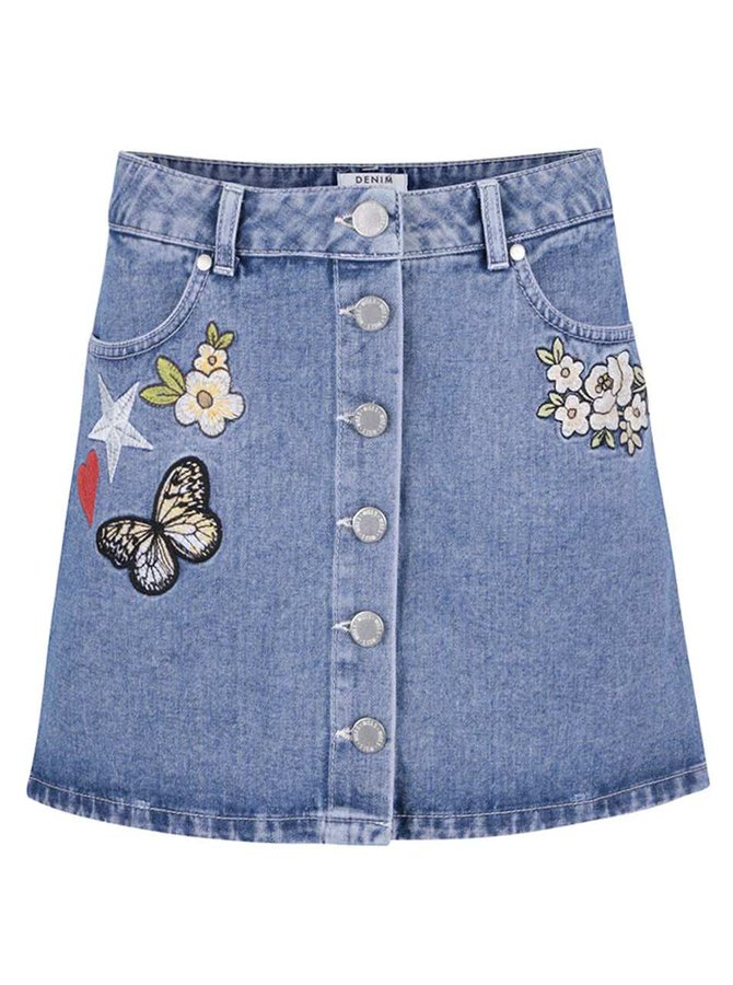Modrá džínová propínací sukně s výšivkami Miss Selfridge Petites