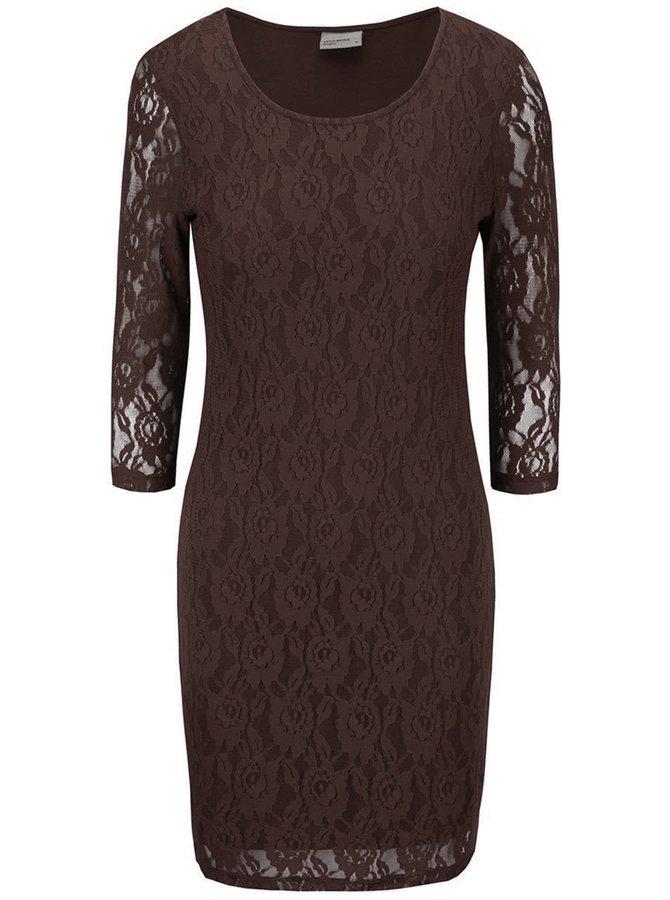 Tmavě hnědé krajkované šaty s dlouhým rukávem Vero Moda Lilly