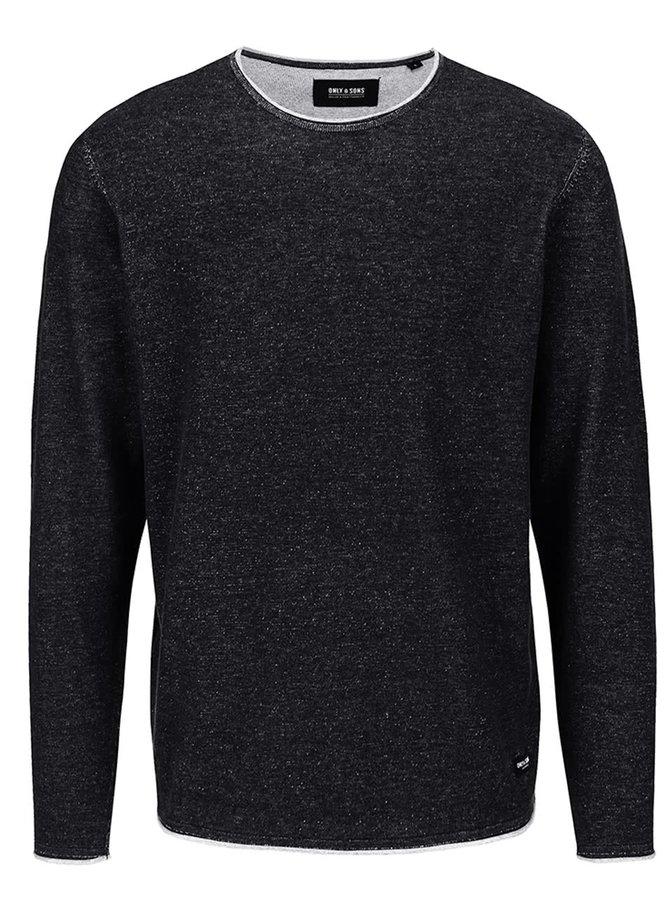 Čierny melírovaný sveter s okrúhlym výstrihom ONLY & SONS Garson