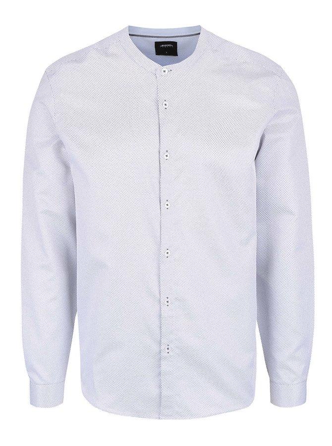 Bílá vzorovaná košile bez límečku Burton Menswear London