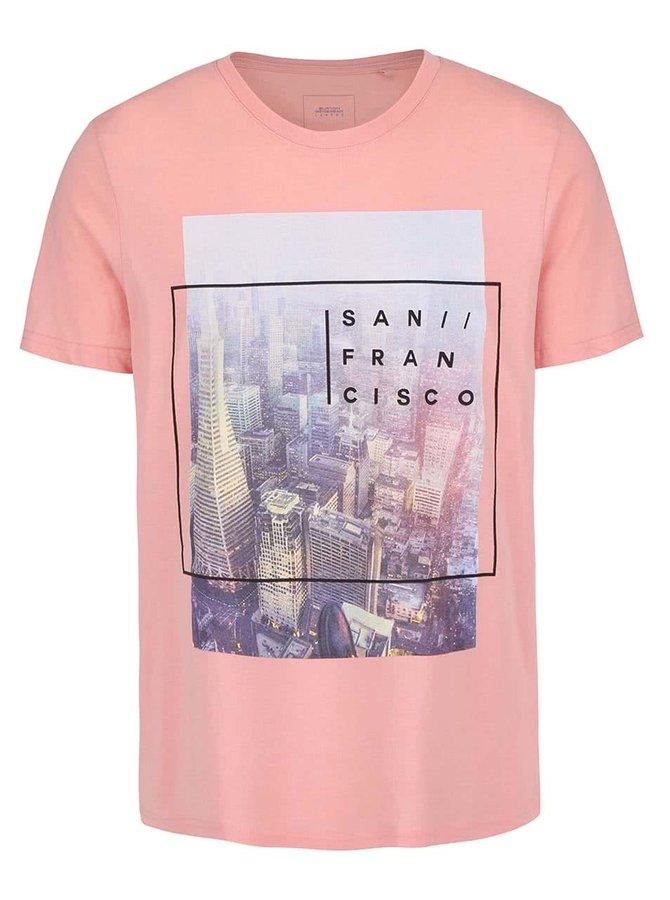 Tricou roz Burton Menswear London cu print