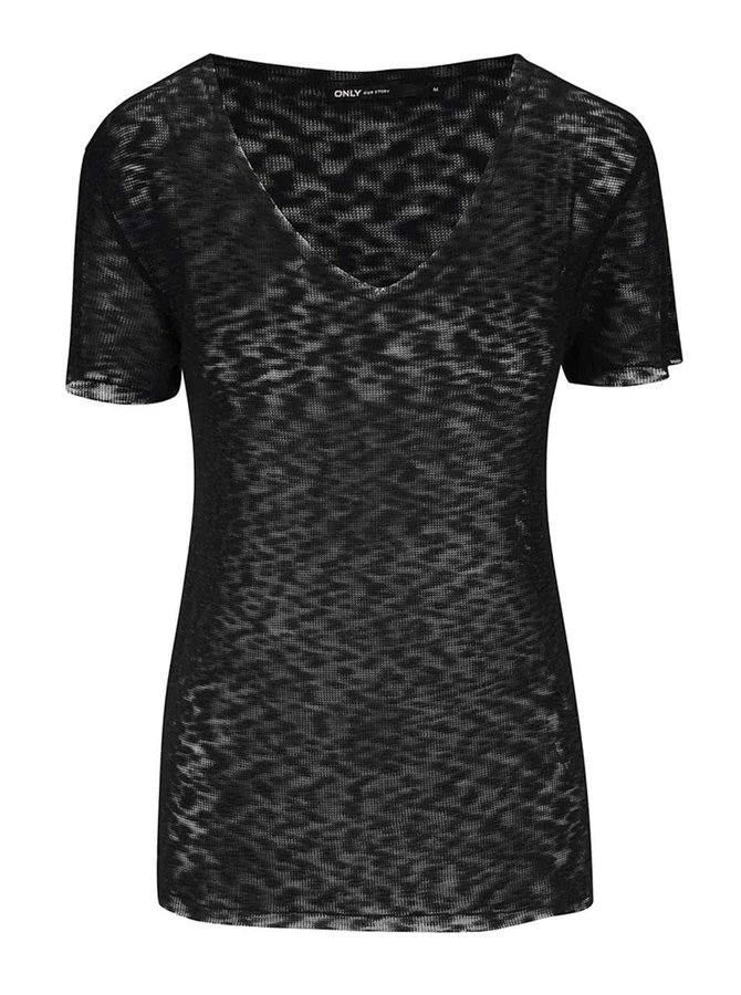 Černé průsvitné tričko s véčkovým výstřihem ONLY Sadie