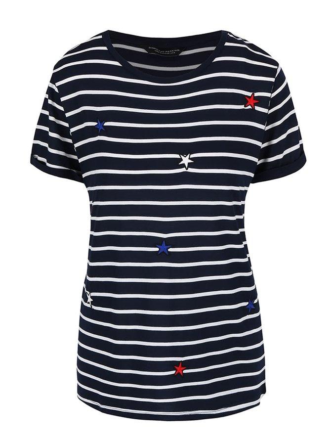 Tmavě modré pruhované tričko s hvězdami Dorothy Perkins