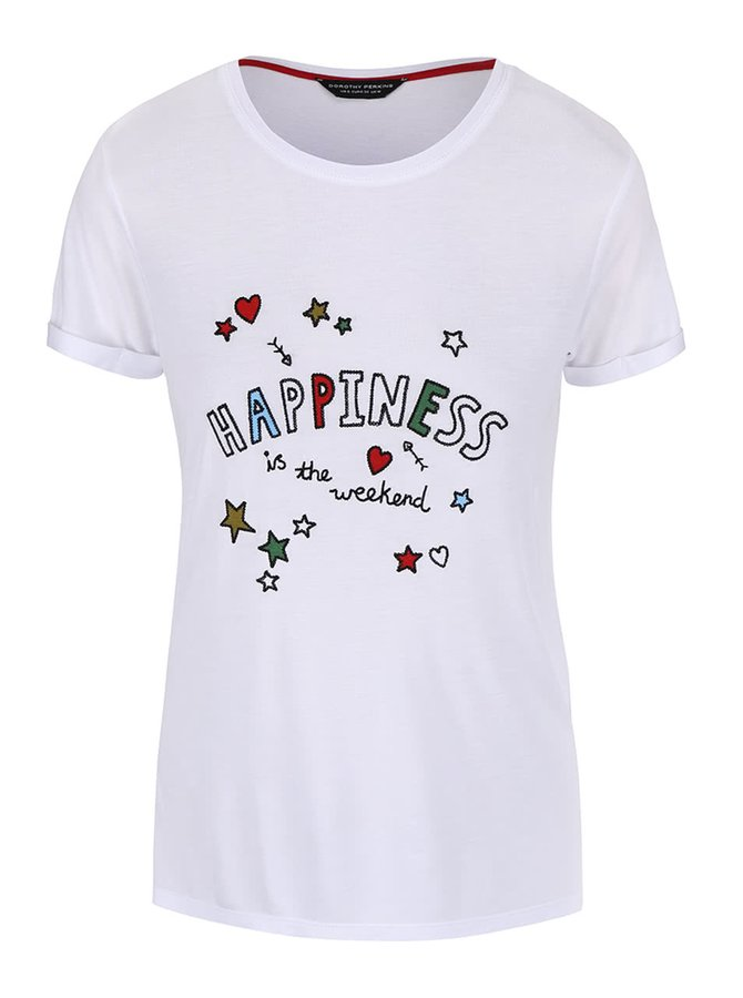Bílé tričko s potiskem Dorothy Perkins