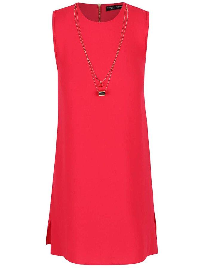 Ružové voľnejšie šaty s odnímateľným náhrdelníkom Dorothy Perkins