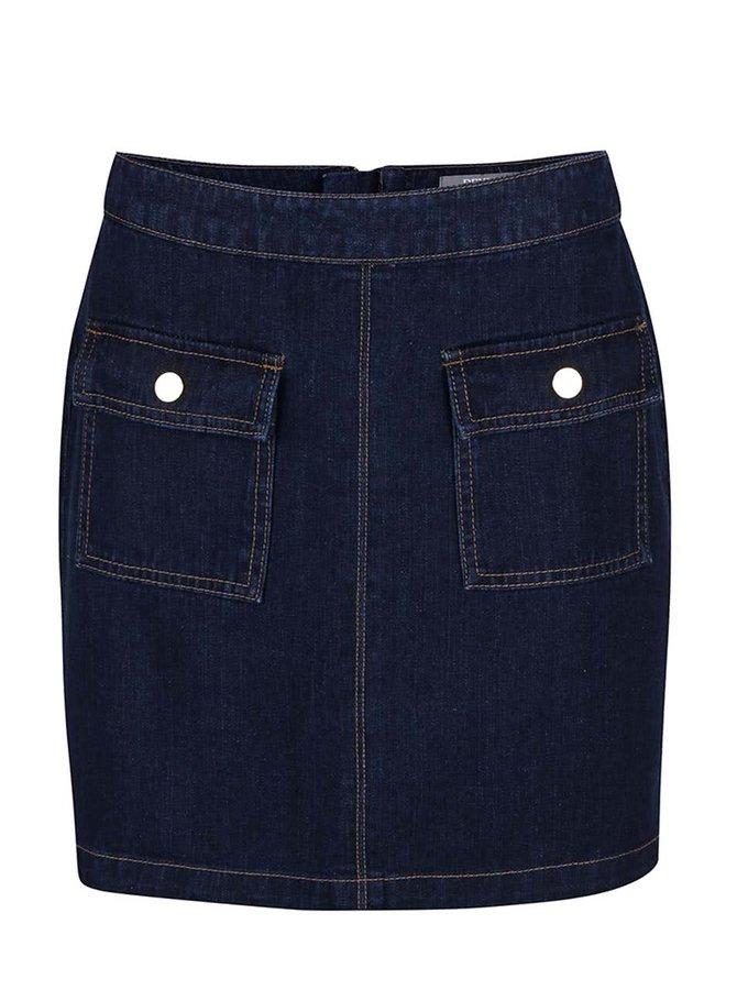 Tmavomodrá rifľová sukňa s vreckami Dorothy Perkins