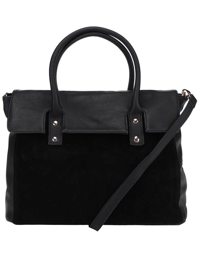 Čierna kabelka s detailom v semišovej úprave Pieces Pi