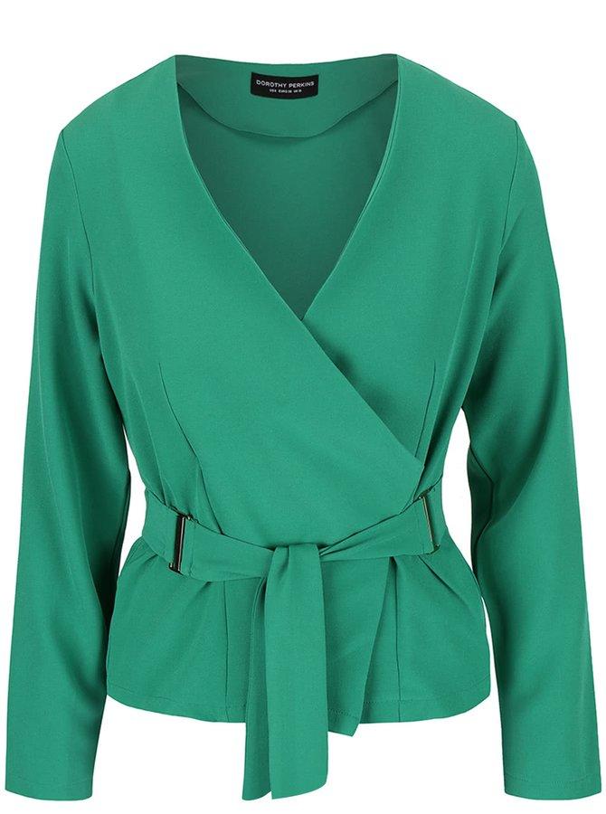 Jachetă subțire verde Dorothy Perkins cu cordon