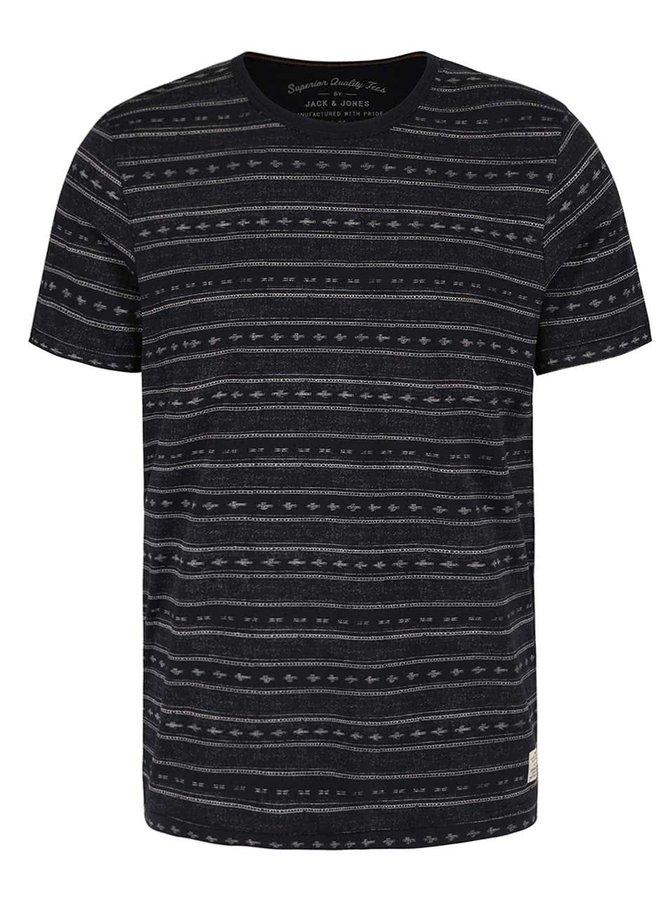 Čierne vzorované tričko Jack & Jones Steve
