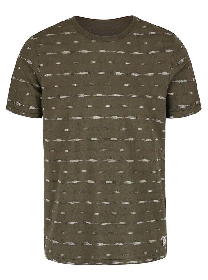 Olivovozelené vzorované tričko Jack & Jones Steve