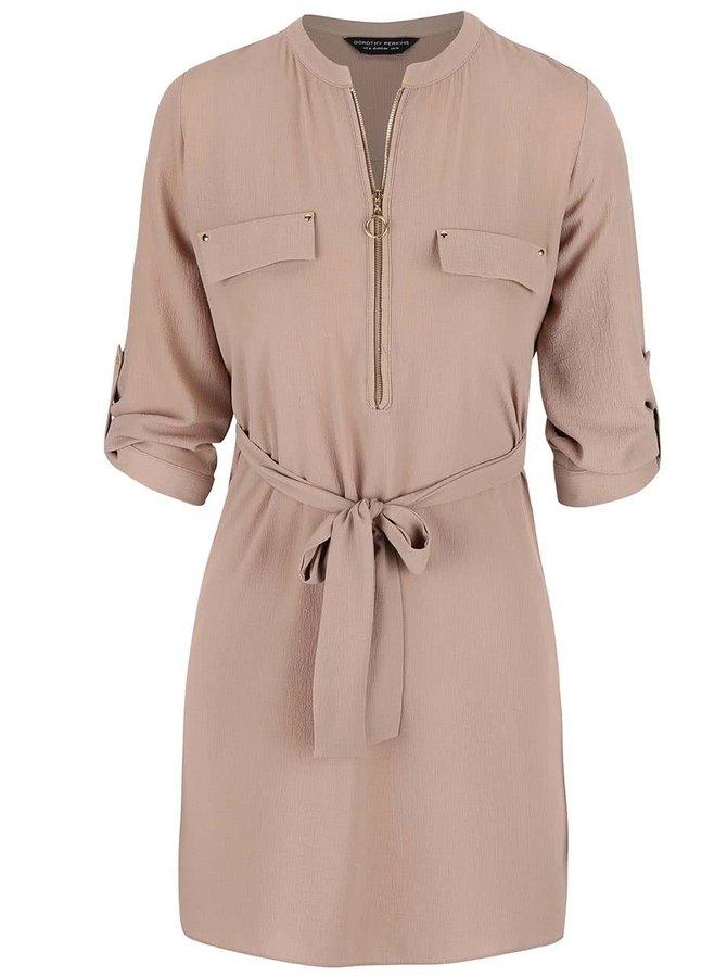 Béžové šaty so zipsom Dorothy Perkins