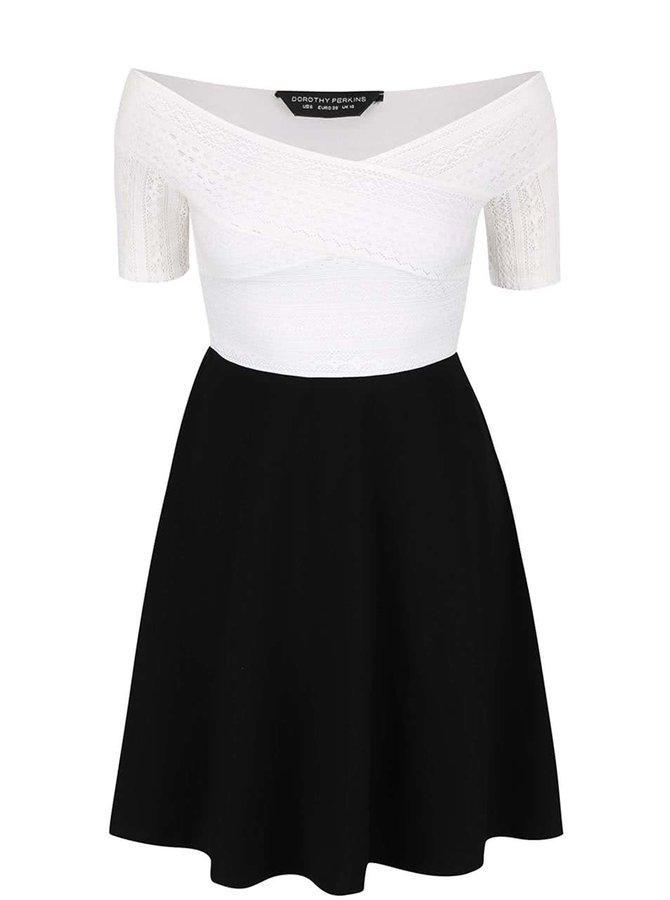 Krémovo-černé šaty s odhalenými rameny Dorothy Perkins