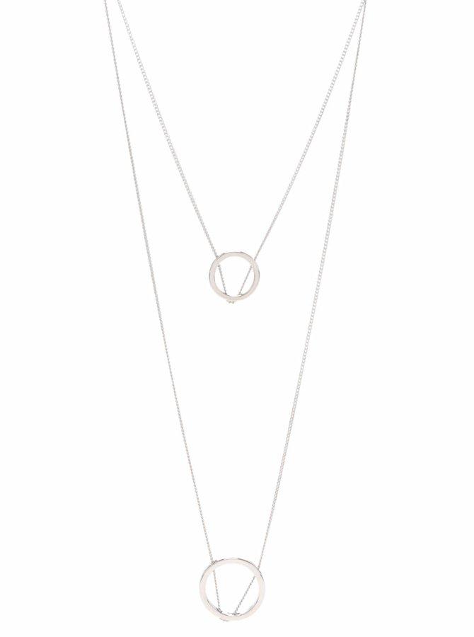 Dlouhý kaskádovitý náhrdelník ve stříbrné barvě Pieces Polly