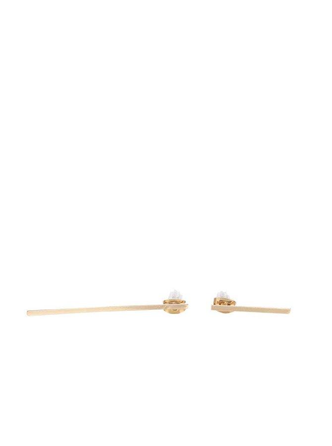 Asymetrické náušnice ve zlaté barvě Pieces Perule